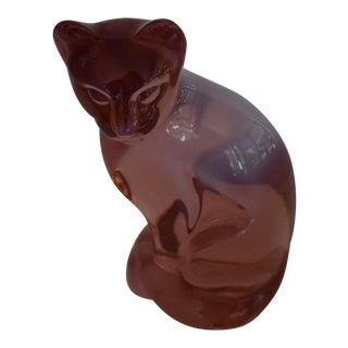 1990s Fenton Rose Pink Clear Sitting Cat Figurine For Sale