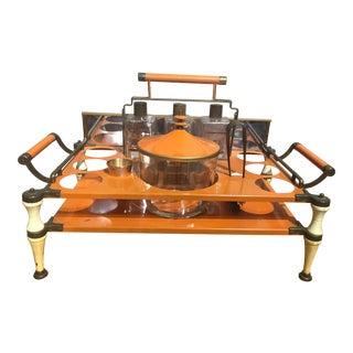 Mid-Century Orange Barware Set - 7 Piece Set For Sale