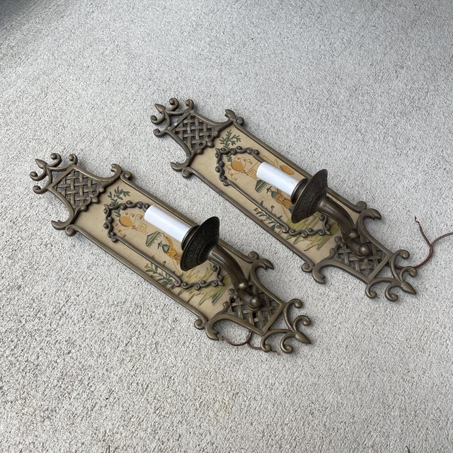 Chinoiserie Hand Painted Brass Chinoiserie Lightes Scones - a Pair For Sale - Image 3 of 13