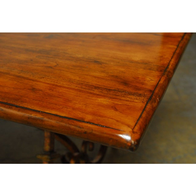 Spanish Colonial Trestle Table With Wrought Iron - Image 8 of 10