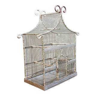 19th Century French Painted Wire Pagoda Birdcage