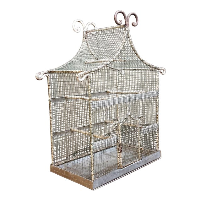 19th Century French Painted Wire Pagoda Birdcage For Sale
