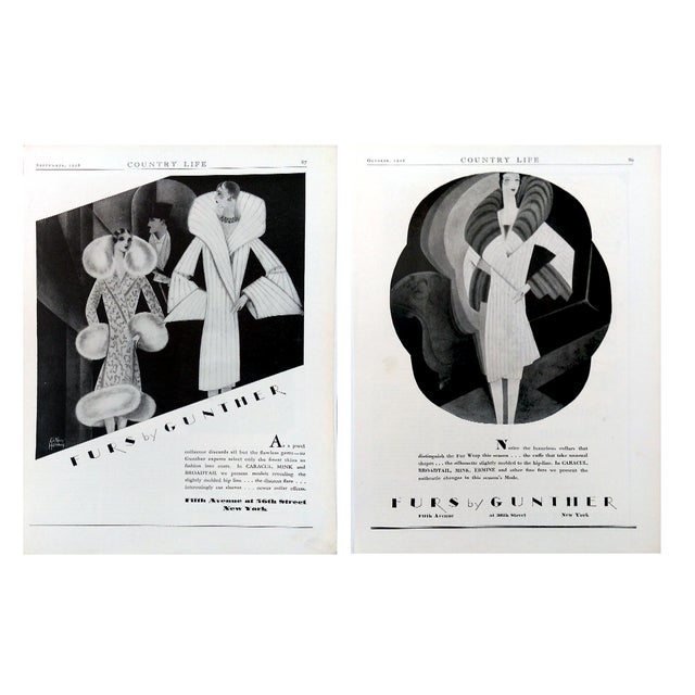 "1928 ""Furs by Gunther"" Advertisments - Pair - Image 1 of 10"