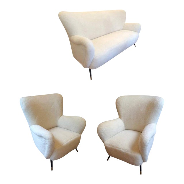 Set of One Couch and Two Chairs in Wool Faux Fur For Sale