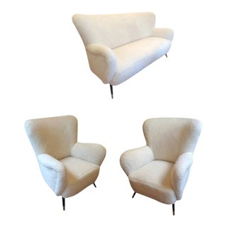 Style of Gio Ponti Set of One Couch and Two Chairs in Wool Faux Fur