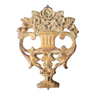 18th Century Portuguese Baroque Cast Iron Gold Leaf Plaque Depicting a Flower Vase For Sale