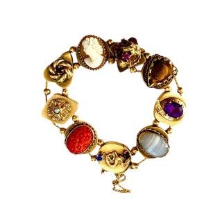Victorian Style 14k Gold Jewelled Slide Bracelet For Sale