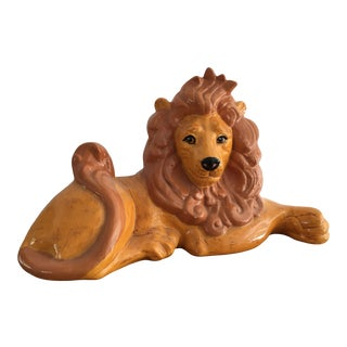 1980s Vintage Ceramic Hand Painted Lion Statue For Sale