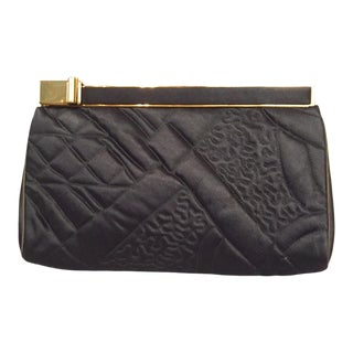 Judith Leiber Trapunto Stitched Black Satin Clutch For Sale