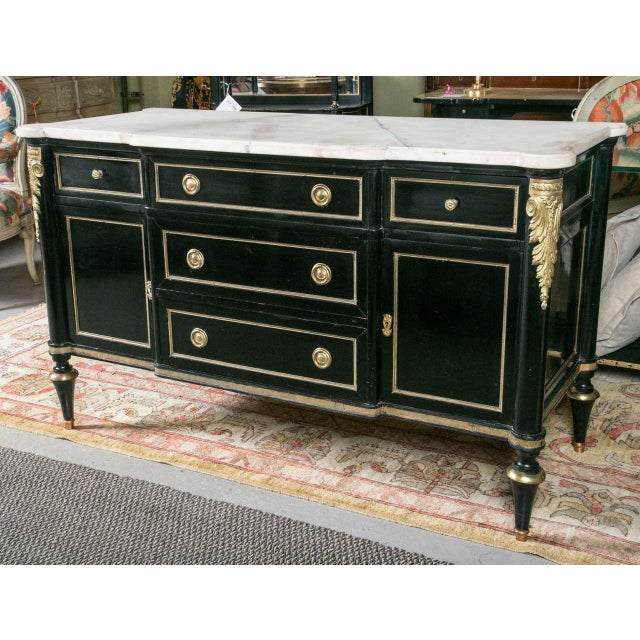 French Maison Jansen Ebonized Marble Top Commode For Sale - Image 3 of 11