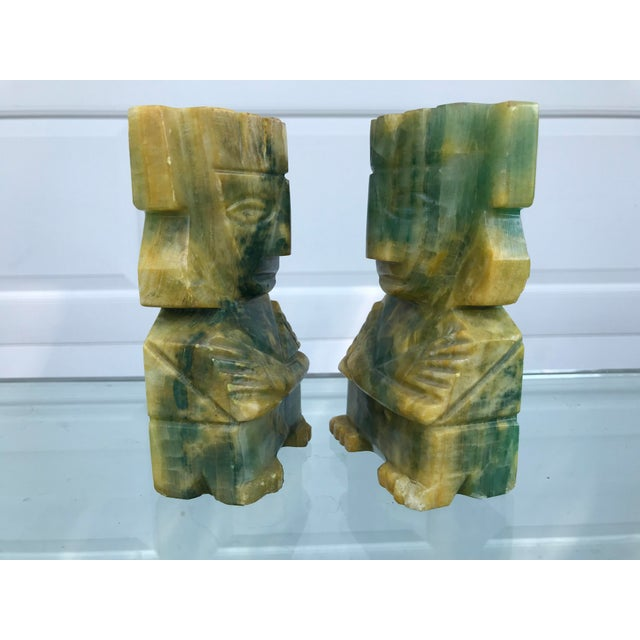 Primitive Green and Yellow Carved Onyx Bookends - a Pair For Sale - Image 3 of 8