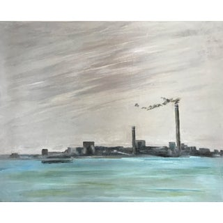 """""""Industrial Waterfront"""" Contemporary Cityscape Acrylic Painting For Sale"""