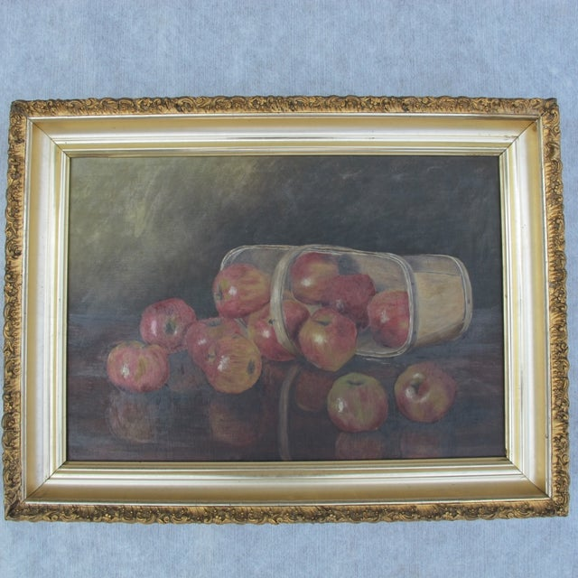 """""""Basket of Apples"""", Oil Painting on Canvas - Image 2 of 8"""