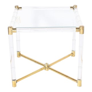 Faux Bamboo Table With Lucite and Brass Detailing, C. 1970