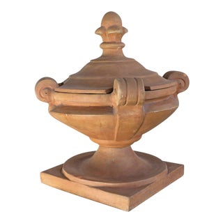 Covered Terracotta Decorative Urn For Sale