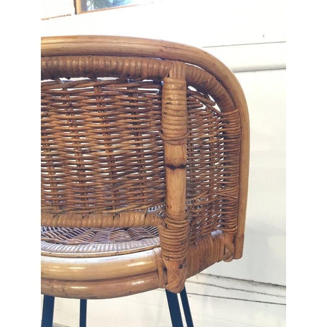 Vintage Mid Century Arthur Umanoff Style Rattan Bar Stools- Set of 3 For Sale In New York - Image 6 of 12