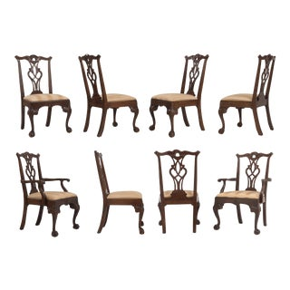 Vintage Henredon Rittenhouse Square Collection Mahogany Chippendale Dining Chairs - Set of 8 For Sale