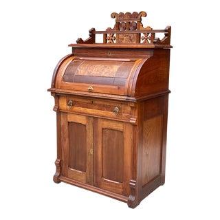 Antique Eastlake Victorian Walnut Cylinder Secretary Writing Desk For Sale