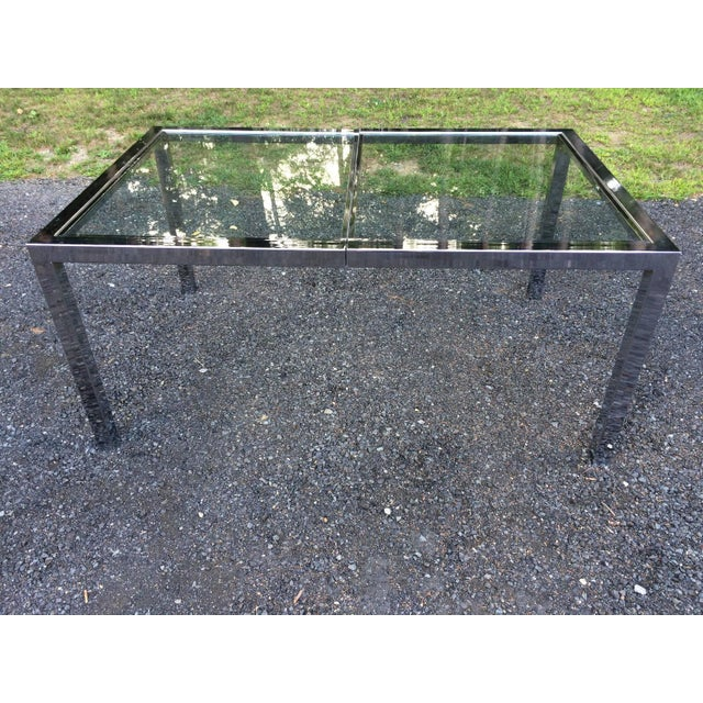 Milo Baughman Chrome& Glass Dining Table - Image 3 of 8