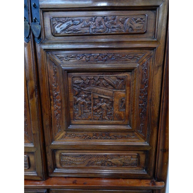 Chinese Carved Teak Wood Cabinet For Sale - Image 9 of 12