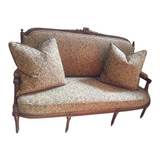 19th Century French Finely Carved Walnut Settee For Sale