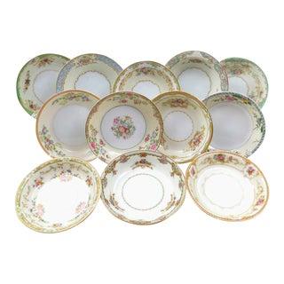 Vintage Mismatched Fine China Dessert Bowls - Set of 12