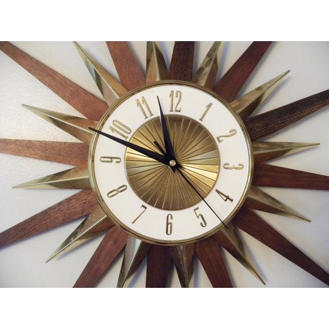 Vintage Elgin Mid Century Star Burst Wall Clock - Image 5 of 8
