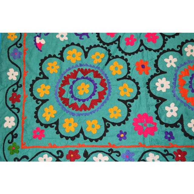 Vintage Uzbeki Suzani Turquoise Textile - 5'x6'2″ For Sale - Image 4 of 5