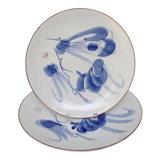 Japanese Serving Plates, Set of 2 For Sale