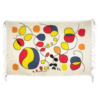 "1960's Alexander Calder Style Hand Woven Rug-2'11'x4'10"" For Sale"