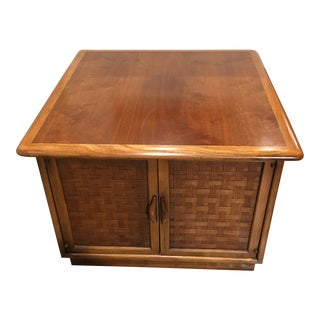 1960s Mid-Century Modern Lane Perception Two Door Walnut Side Table With Woven Front Cabinet For Sale