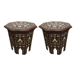 20th Century Syrian Mother-Of-Pearl Inlaid Side Tables - a Pair For Sale
