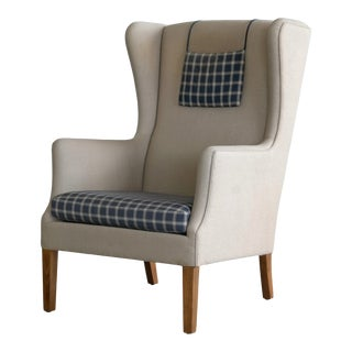 Danish Modern Kaare Klint Attributed Wingback Chair in Wool, Circa 1960s For Sale