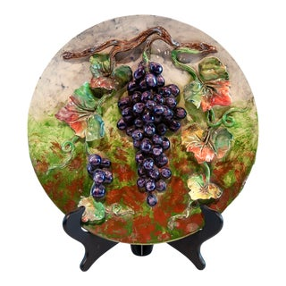 Longchamps French Majolica Barbotine Menton Wall Plaque With Grapes, C. 1880 For Sale