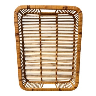 Vintage Woven Rattan Split Reed Burnt Bamboo Natural Bar Tray For Sale