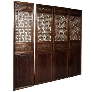 Set of Four 19th Century Elmwood Open Fretwork Panels with Delicate Carving For Sale