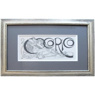 1899 Vintage Framed Alphonse Mucha Masthead, Original Art Nouveau Cocorico Cover