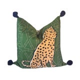 Image of Boho Chic Leopard Pom Pom Pillow For Sale