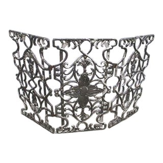 Early 20th Century Antique Cast Iron Fireplace Screen For Sale