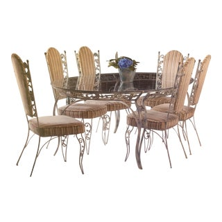 Mid 20th Century Vintage Rococo Style Painted Wrought Iron 7' Dining Table and Eight Chairs - Set of 9 For Sale