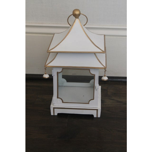 Cream Cream and Gold Pagoda Shaped Lantern For Sale - Image 8 of 8