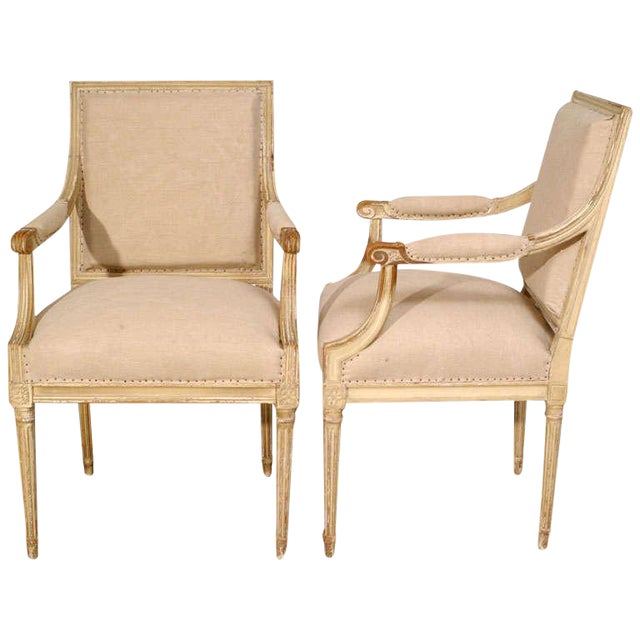 18th Century Painted Square Back Louis XVI Fauteuils - a Pair For Sale