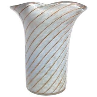 Fratelli Toso Murano Light Blue Aventurine Swirl Italian Art Glass Flower Vase For Sale