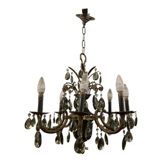 Mid 20th Century Spanish Smoked Crystal + Brass Eight Light Chandelier For Sale
