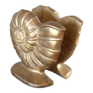 Vintage Mid Century Brass Shell Bookends For Sale