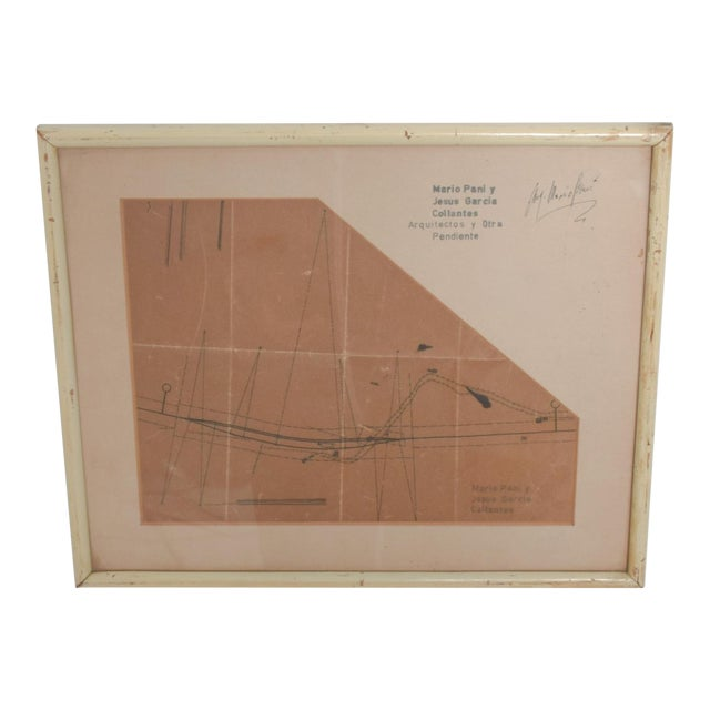 Art Architectural Sketch by Mario Pani and Jesus Garcia Collantes 1947 For Sale