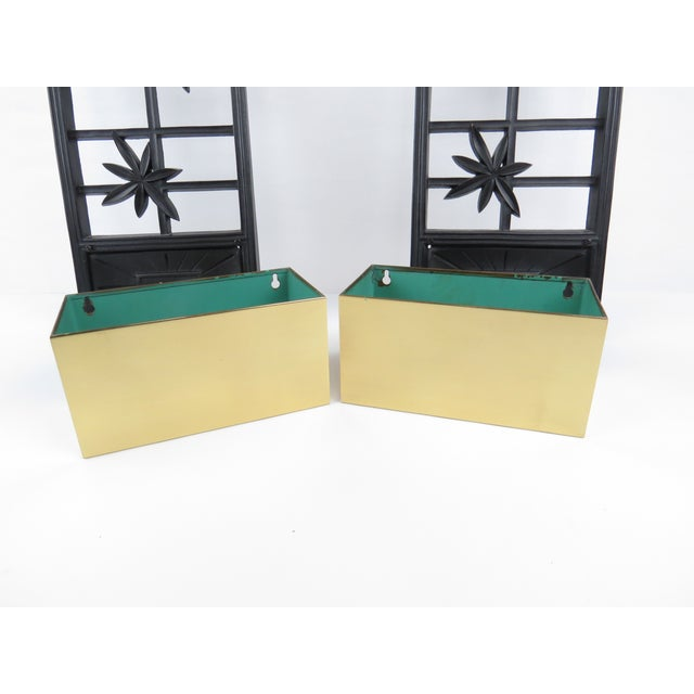 Metal Vintage Syroco Ebonized Wood and Brass Wall Planters - a Pair For Sale - Image 7 of 13