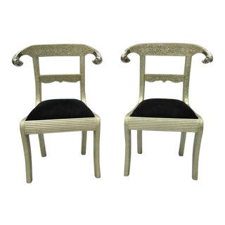 Vintage Mid Century Metal Wrapped Anglo Indian Regency Style Dowry Wedding Chairs For Sale