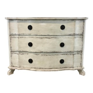 Shabby Chic Modern Painted White Serpentine Chest of Drawers For Sale
