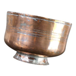 Antique Turkish Footed Medium Sized Copper Bowl Hand Forged Incised Tinned For Sale